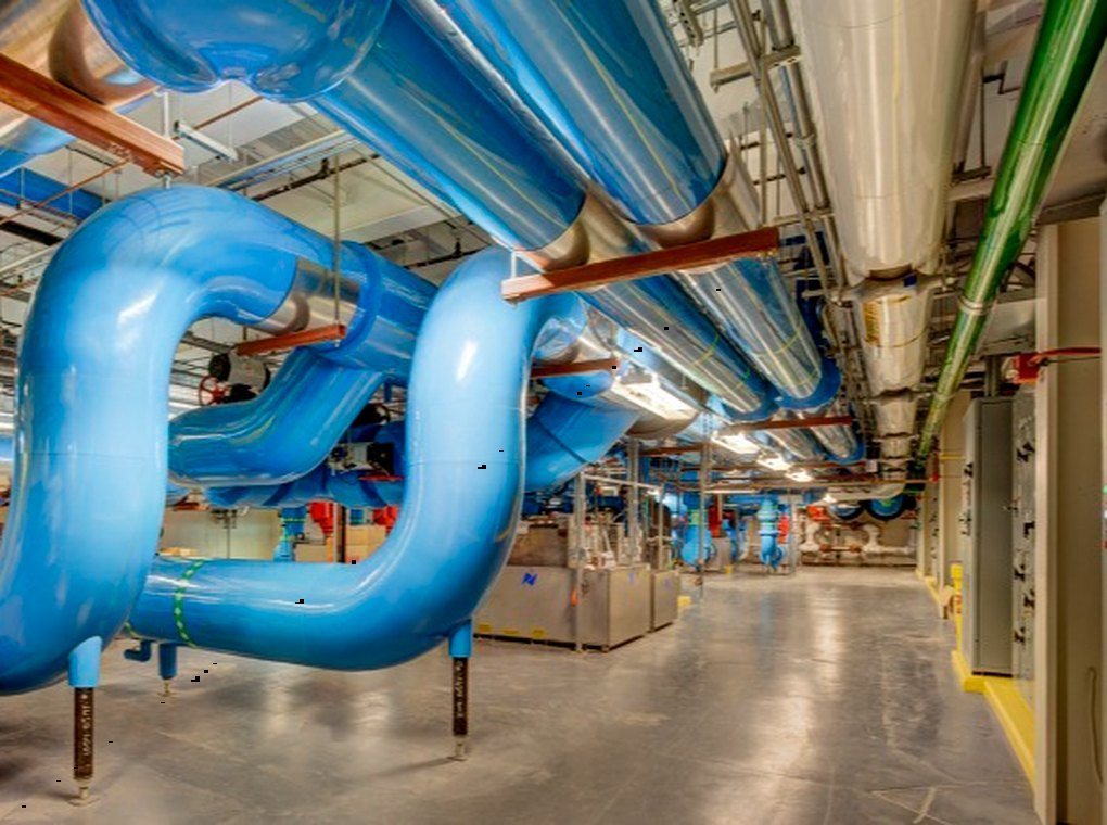 large blue pipes in FDA power plant