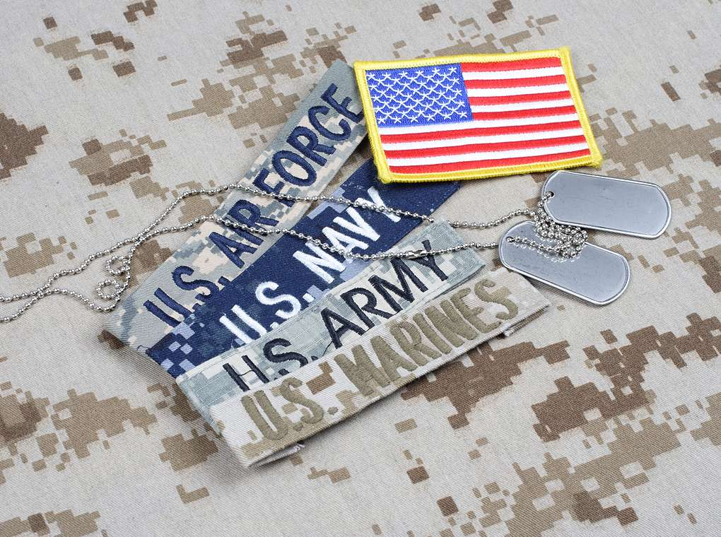 U.S. air force, navy, army, and flag patches with dog tags